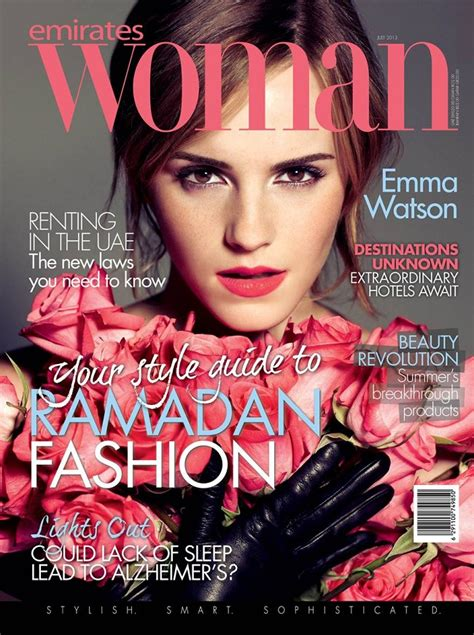 celebrity magazines in uae emma watson features on the cover of emirates woman july 2013