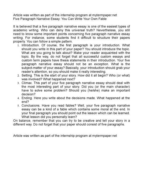 Write Your Own Essay by Calam 233 O Five Paragraph Narrative Essay You Can Write Your Own Fable