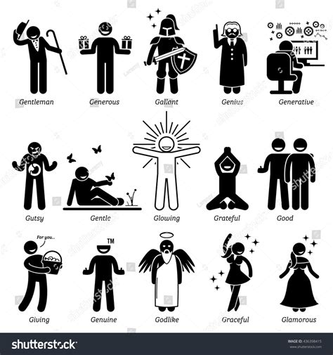 Positive Personalities Character Traits Stick Figures Stock Vector 436398415