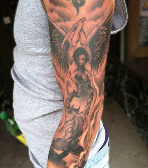 angel tattoo in arm satan and angel tattoo arm tattoos pinterest angel