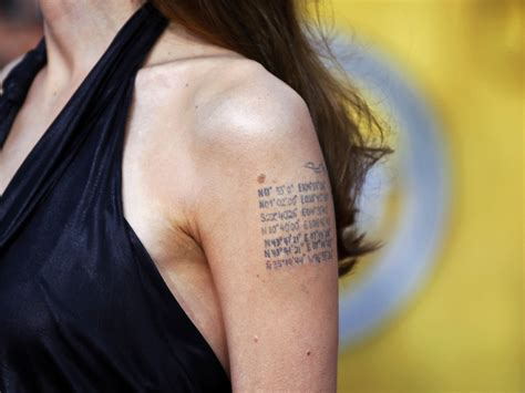 angelina jolie tattoo latitude longitude a woman s choice