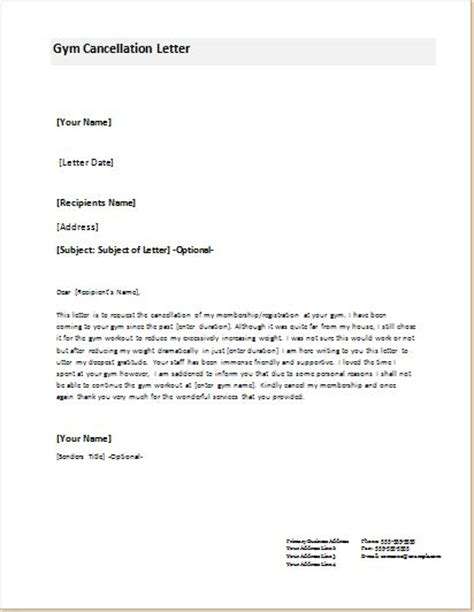 cancellation letter fitness cancellation letter templates for ms word document templates