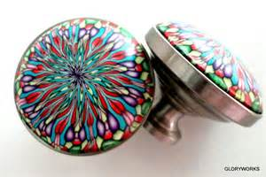 Novelty Cabinet Knobs Set Of 8 Kaleidoscope Cabinet Knobs Pulls Red Purple Blue