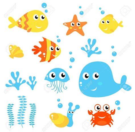 imagenes animales acuaticos conjunto de animales marinos dibujos animados fondo
