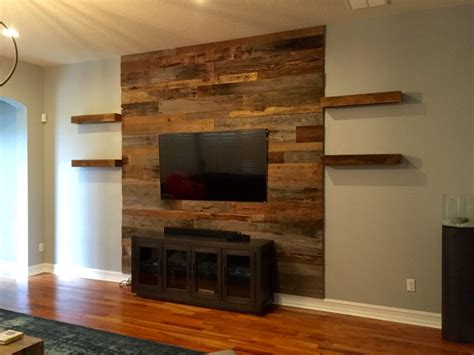 wood accent wall trevor s reclaimed barn wood accent wall with shelving