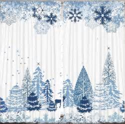 Winter Window Curtains Winter Snow Flakes Curtain Panel Set Living Room Window Trees Ebay