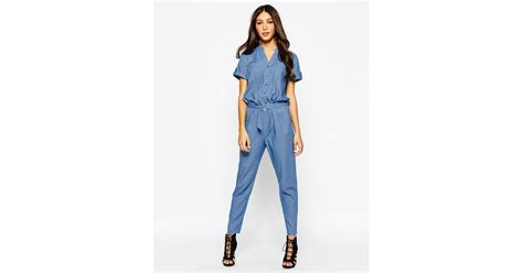 ring belt jumpsuit lyst never fully dressed chambray jumpsuit with d ring