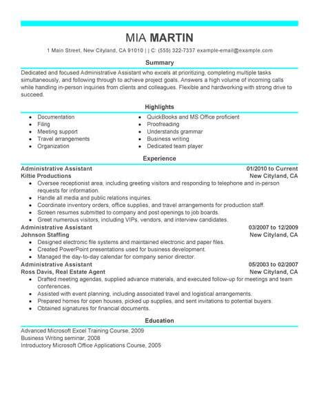 administrative assistant professional summary elegant executive