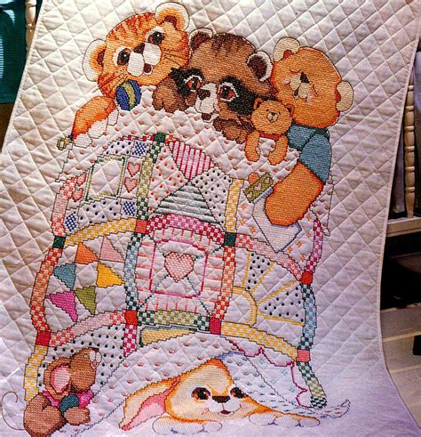 Cross Stitch Quilts For Babies by Adorable Baby Crib Quilt Bucilla Sted Cross Stitch Kit