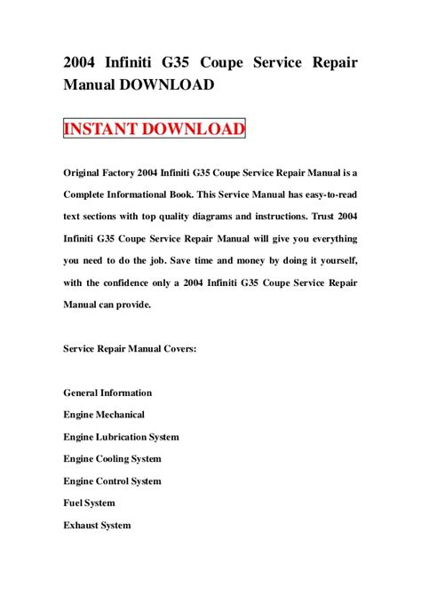 service repair manual free download 2007 infiniti g35 spare parts catalogs 2004 infiniti g35 coupe service repair manual download