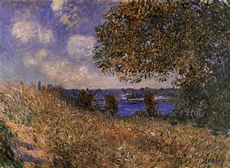 on the bank of the seine near the bank of the seine at by alfred sisley wikiart