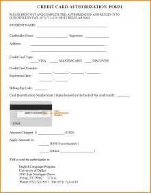 Authorization Letter Use Credit Card generic credit card authorization form credit card authorization form