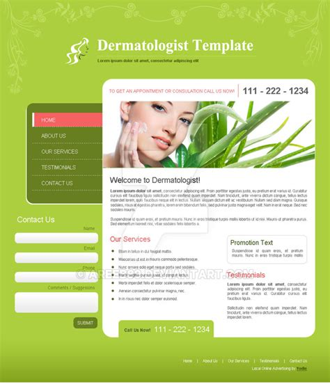 Website For Dermatologist By Areeb89 On Deviantart Dermatologist Website Templates