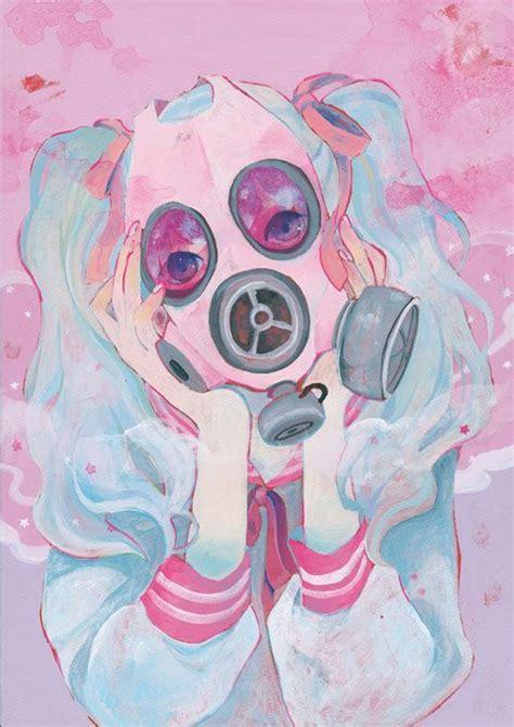 cute pattern pixiv pink gas mask tumblr
