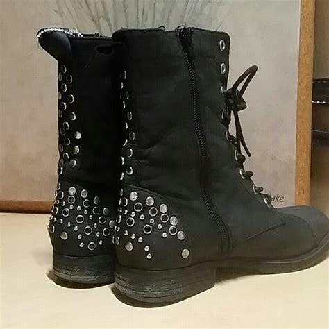 lace up moto boots steve madden steve madden black suede studded lace up