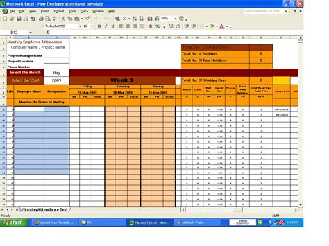 employee attendance sheet template excel calendar