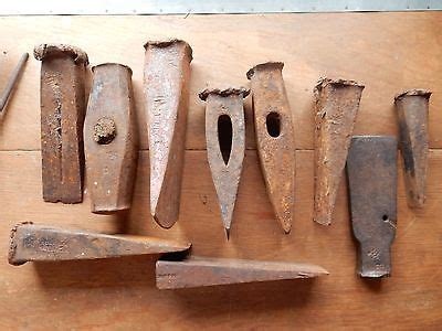 Lot Of 10 Antique Wood Log Splitting Wedges Maul Splitter