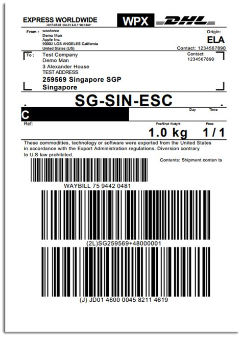 Return Label Sle Dhl Shipping Label Template
