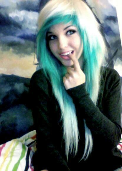 emo hairstyles blue and blonde pinterest