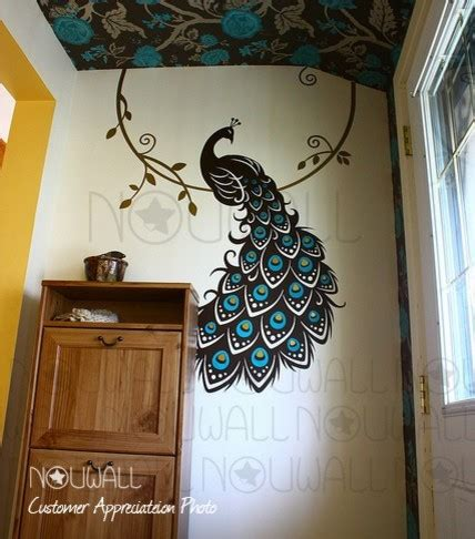 peacock wall stickers peacock three color wall decal nouwall contemporary