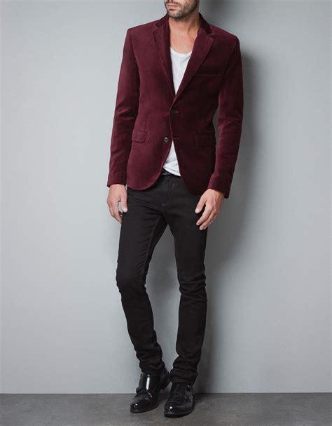 Blazer Zara Zara Velvet Blazer In For Bordeaux Lyst