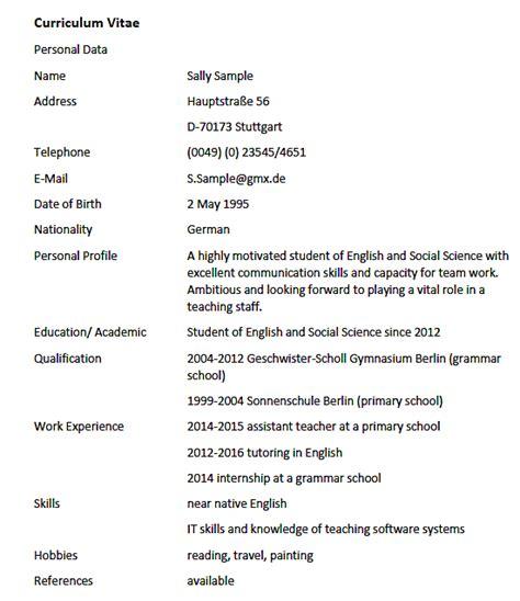 Englischer Lebenslauf Muster by Lebenslauf Auf Englisch Curriculum Vitae With Exle