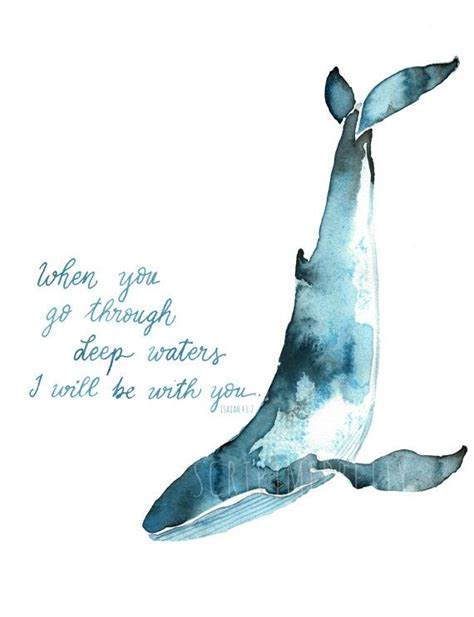 watercolor tattoo whale whale watercolor isaiah 43 2 by scriptmepretty on etsy