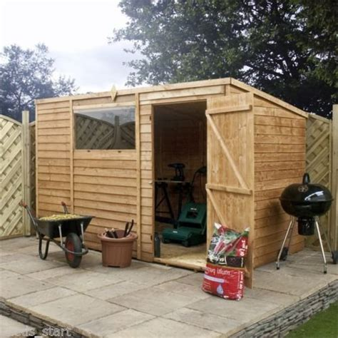 10ft x 6ft overlap pent wooden flat roof storage shed