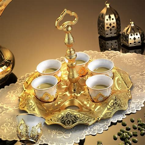 Cofee Set gold plated ottoman turkish coffee set m箟rra arabic