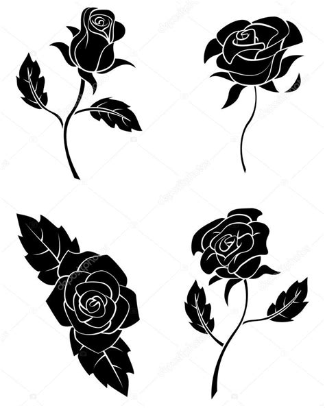 black silhouette collection of rose flower stock vector