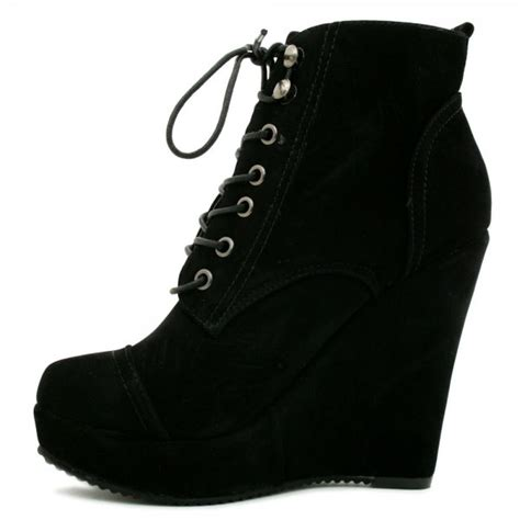 suede style wedge heel platform lace up ankle boots