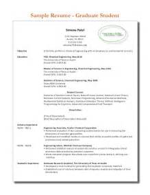 Resume Exles For Graduate Students by Sle Graduate Student Resume 2013 2014
