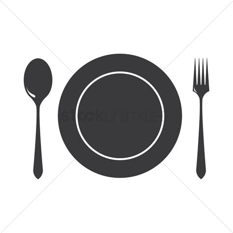 and cutlery dinner plate with cutlery vector image 1328917