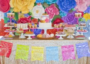 Outdoor Bridal Shower Decoration Ideas - colorful mexican inspired dessert table by minted and vintage