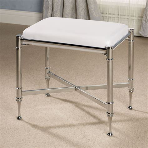 Stool For Bathroom Vanity Square Stainless Steel Bathroom Vanity Stool With White Fabric Seat And Four Legs Of Gorgeous