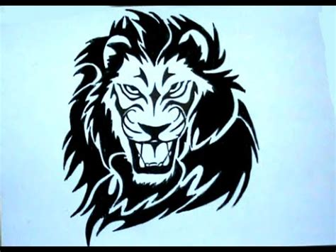 how to draw tribal tattoo lion stencil drawing youtube