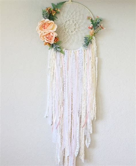 BARNYARDPEACOCK   Large Crochet Dreamcatcher Blush Floral