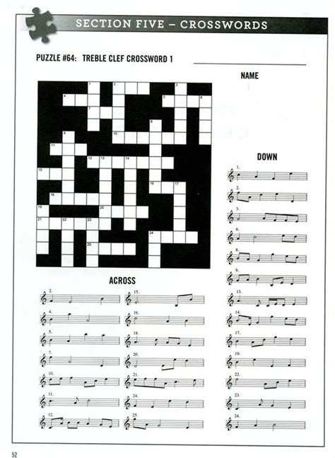 Printable Games For Music | free printable music notes crossword puzzle music free