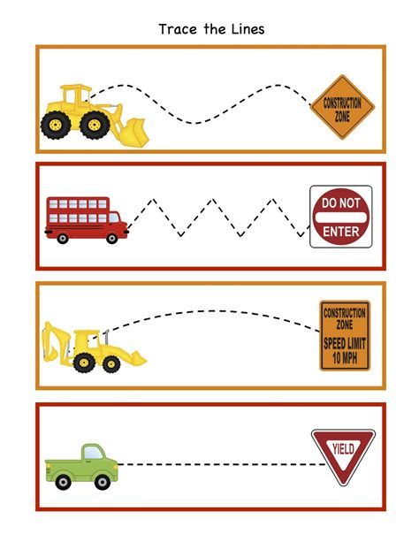 printable preschool train activities traffic signs worksheets preschool trace the lines