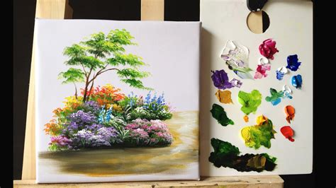 how to paint how to paint bushes flowers lesson 1 youtube