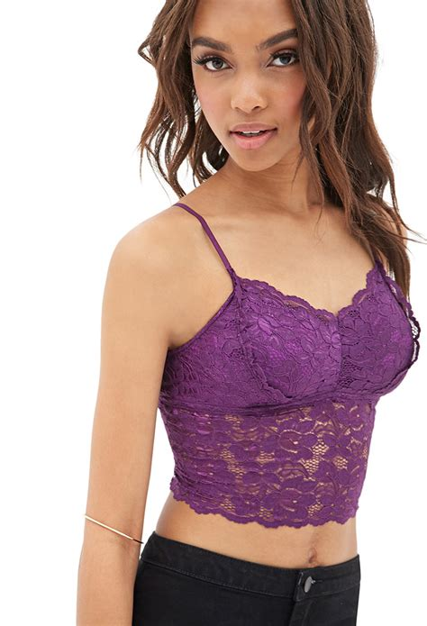 lyst forever 21 floral lace crop top in purple