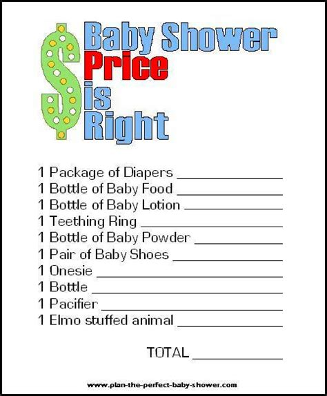 baby shower price is right printable eden escape