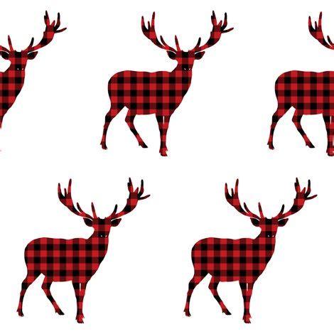 deer antlers and plaid for christmas plaid deer in black fabric shopcabin spoonflower