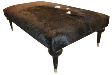 hair on hide ottoman crafted contemporary hair on hide bench ottoman by