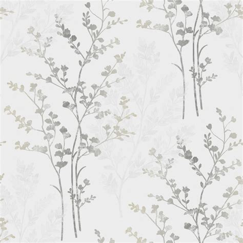 grey wallpaper with leaves fern motif arthouse wallpaper in silver white and grey