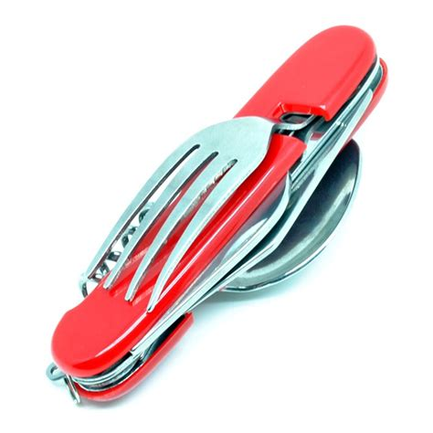 Knife With Spoon And Fork 5 In 1 2010 plastic surface swiss knife with spoon and fork 6 in 1