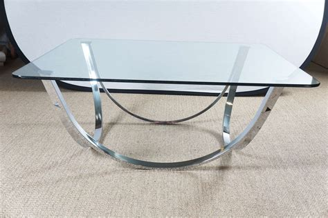 Coffee Table Bases For Glass Tops by Chrome Coffee Table Base With Glass Top For Sale At 1stdibs