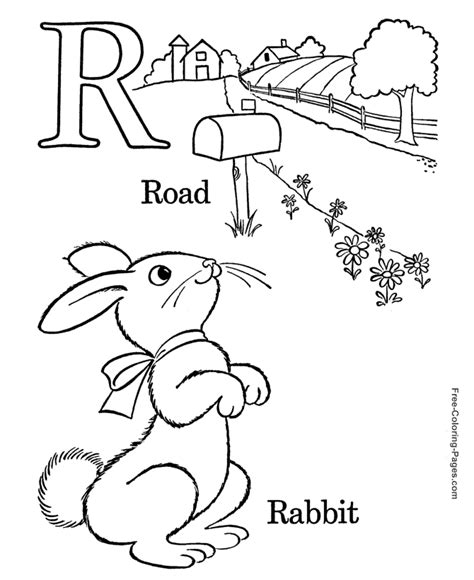 R For Rabbit Coloring Page by Alphabet Coloring Pages R Is For Rabbit