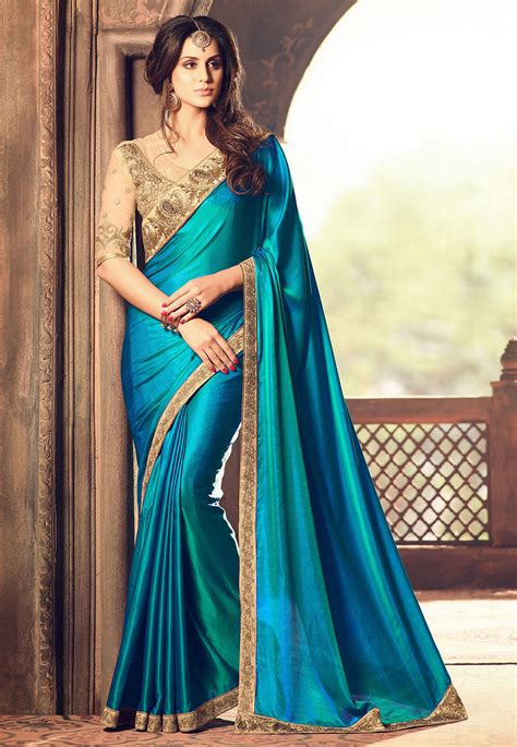 embroidered bordered crepe saree  teal blue syc