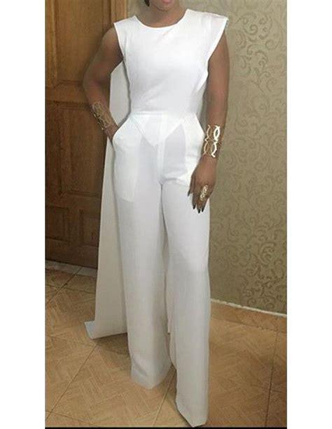 white pattern jumpsuit white round neck sleeveless slim wide leg pants jumpsuit